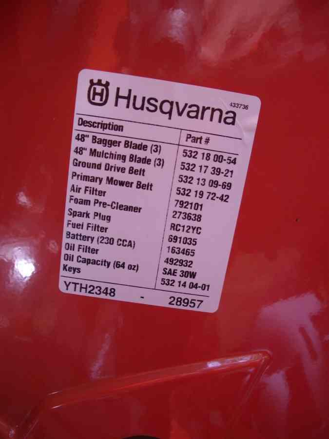 Husqvarna Yth2348 Filters - Mytractorforum Com